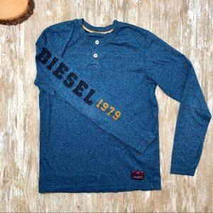 {Diesel} Heather Blue Henley Spell-Out Sleeve